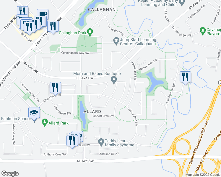 map of restaurants, bars, coffee shops, grocery stores, and more near 3291 Abbott Crescent Southwest in Edmonton