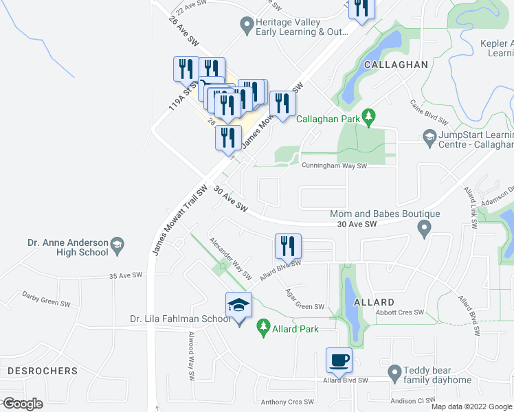 map of restaurants, bars, coffee shops, grocery stores, and more near 2595 Cole Crescent in Edmonton