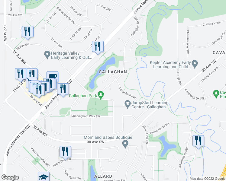 map of restaurants, bars, coffee shops, grocery stores, and more near 219 Callaghan Drive Southwest in Edmonton