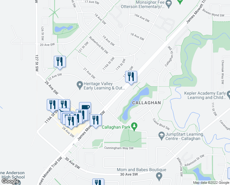 map of restaurants, bars, coffee shops, grocery stores, and more near 11808 22 Avenue Southwest in Edmonton