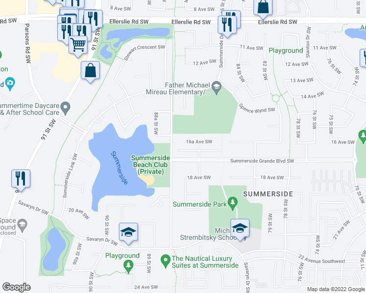 map of restaurants, bars, coffee shops, grocery stores, and more near 8612 Summerside Grande Boulevard Southwest in Edmonton