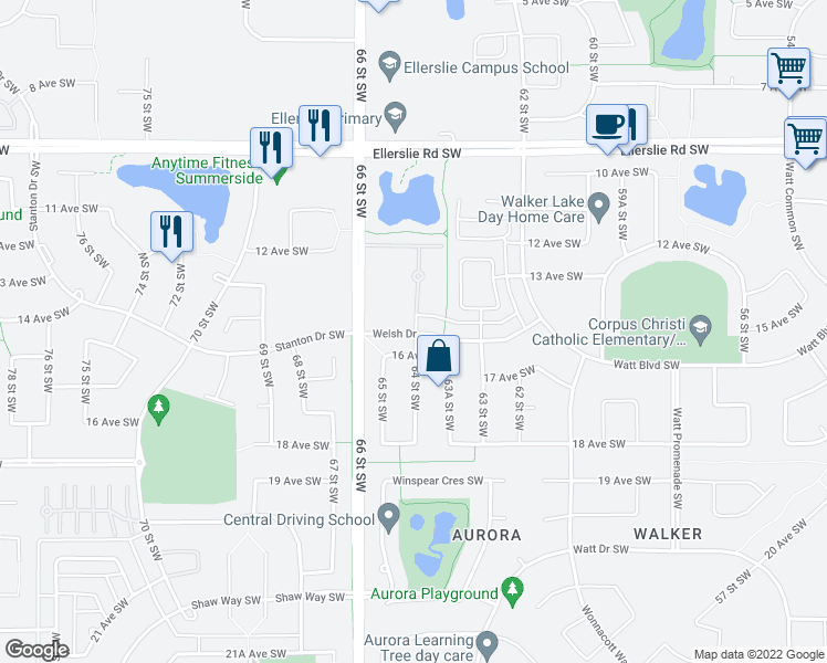 map of restaurants, bars, coffee shops, grocery stores, and more near 804 Welsh Drive in Edmonton