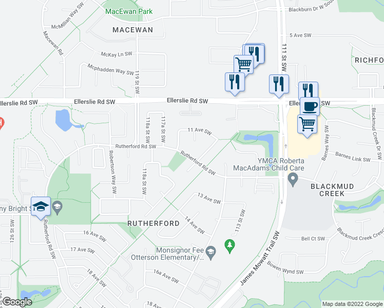 map of restaurants, bars, coffee shops, grocery stores, and more near 976 Rutherford Road in Edmonton