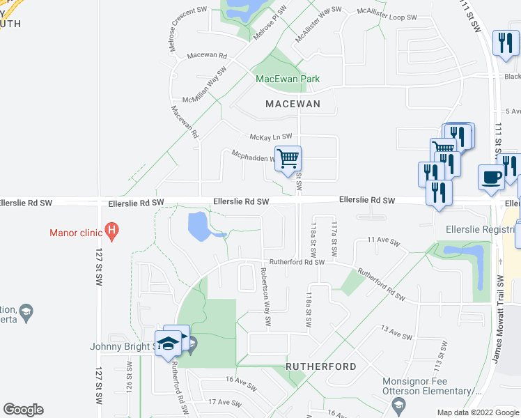 map of restaurants, bars, coffee shops, grocery stores, and more near 1127 Rutherford Close Southwest in Edmonton