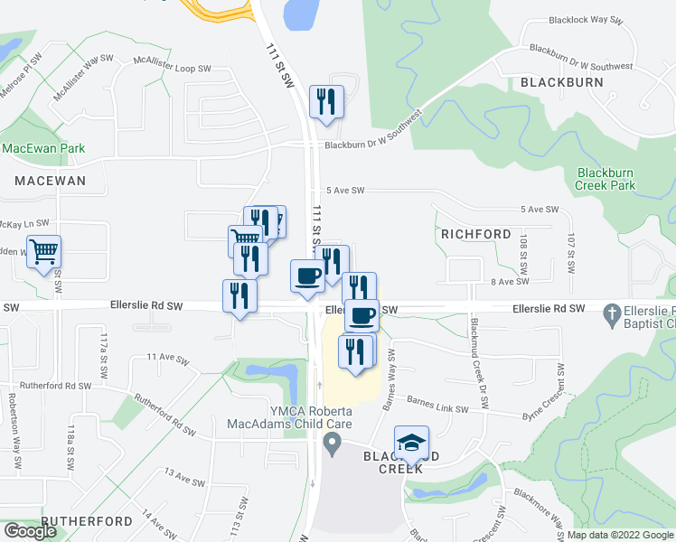 map of restaurants, bars, coffee shops, grocery stores, and more near 11080 Ellerslie Road Southwest in Edmonton