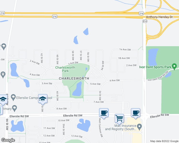 map of restaurants, bars, coffee shops, grocery stores, and more near 5317 3 Avenue Southwest in Edmonton