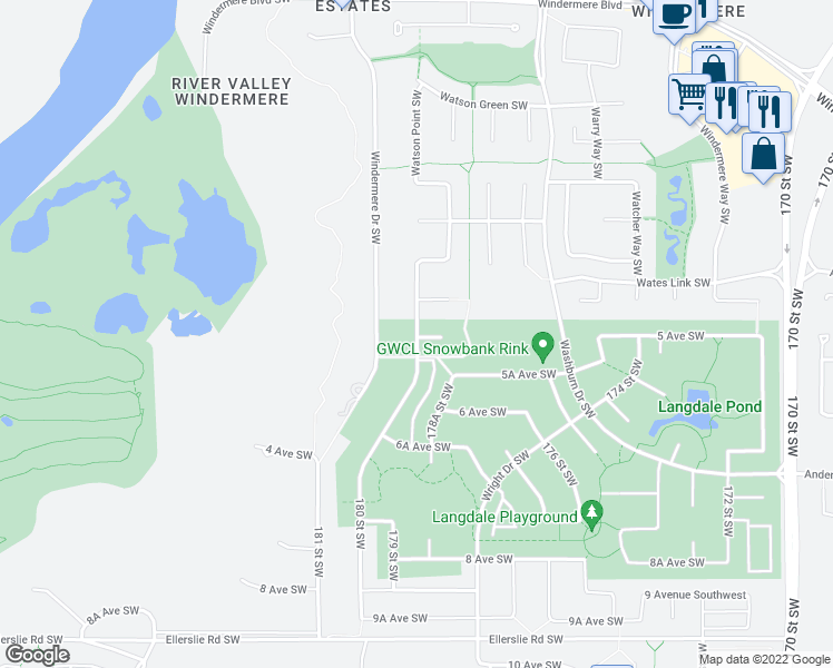 map of restaurants, bars, coffee shops, grocery stores, and more near 3668 Westcliff Way Southwest in Edmonton