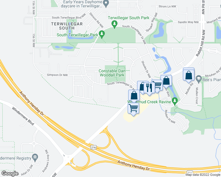 map of restaurants, bars, coffee shops, grocery stores, and more near 7331 South Terwillegar Drive Northwest in Edmonton