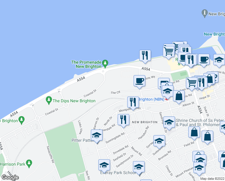 map of restaurants, bars, coffee shops, grocery stores, and more near The Cliff in Merseyside