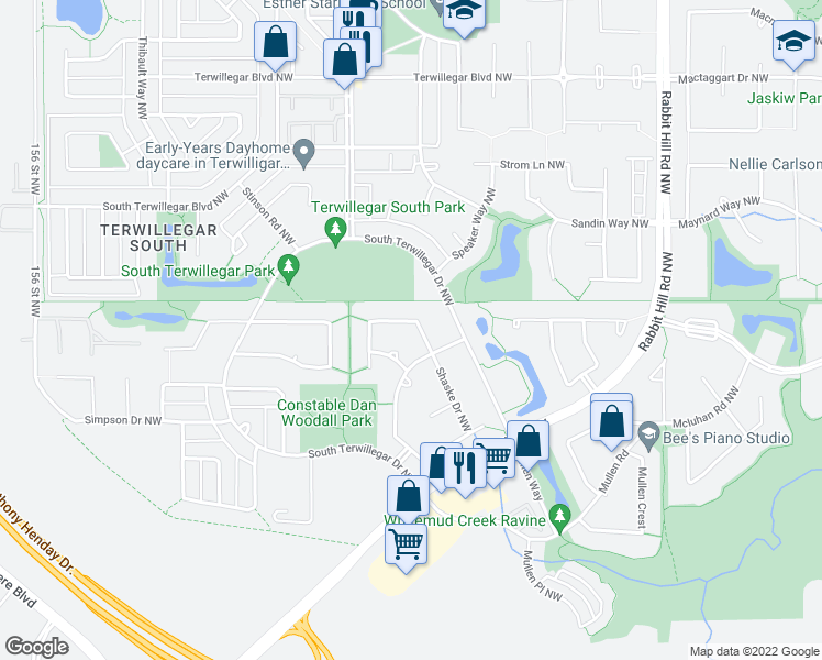 map of restaurants, bars, coffee shops, grocery stores, and more near 8318 Shaske Crescent Northwest in Edmonton