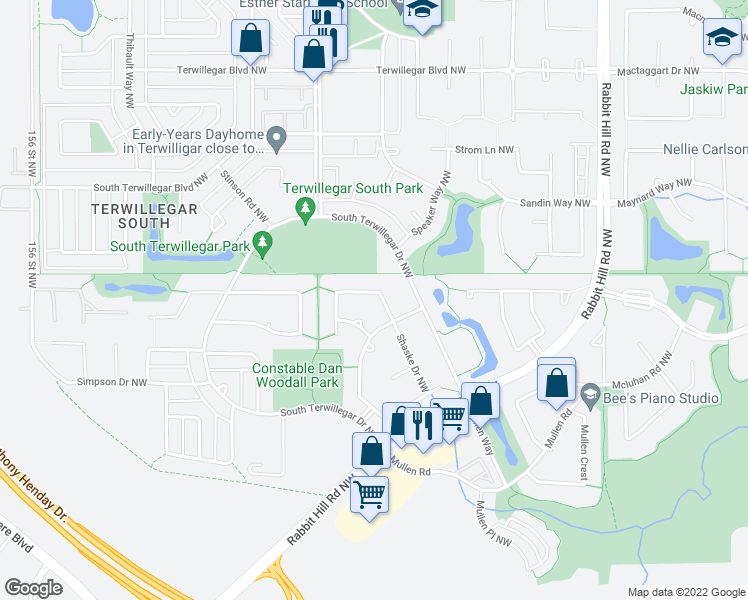 map of restaurants, bars, coffee shops, grocery stores, and more near 8316 Shaske Crescent Northwest in Edmonton