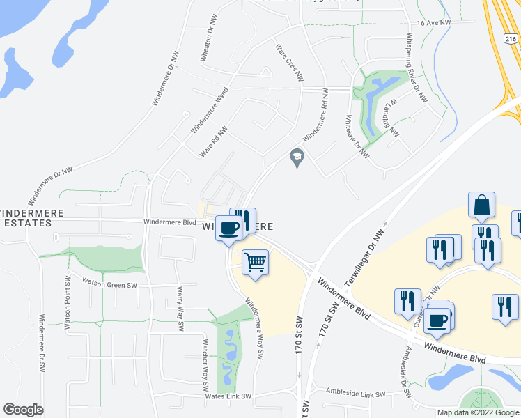 map of restaurants, bars, coffee shops, grocery stores, and more near 1509 Windermere Road Northwest in Edmonton