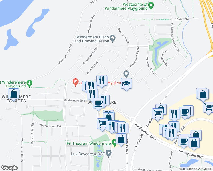 map of restaurants, bars, coffee shops, grocery stores, and more near 340 Windermere Road Northwest in Edmonton