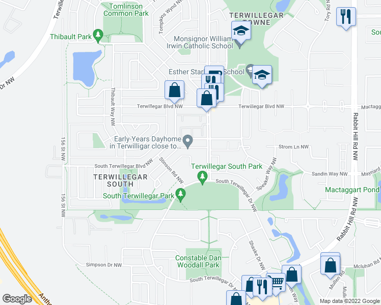 map of restaurants, bars, coffee shops, grocery stores, and more near 6118 Stinson Way Northwest in Edmonton