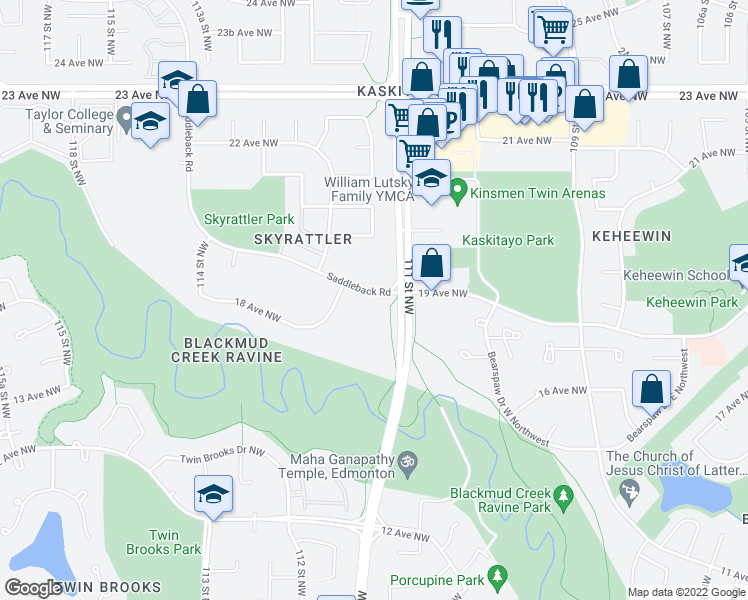map of restaurants, bars, coffee shops, grocery stores, and more near 2000 Saddleback Road Northwest in Edmonton