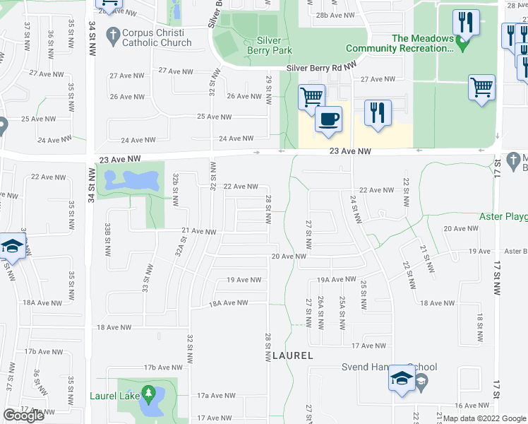 map of restaurants, bars, coffee shops, grocery stores, and more near 2807 22 Avenue Northwest in Edmonton