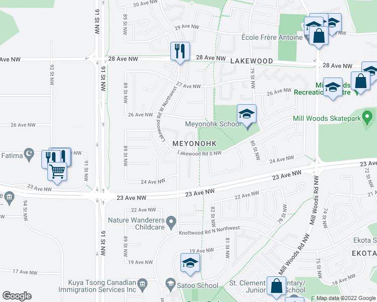 map of restaurants, bars, coffee shops, grocery stores, and more near 1742 Lakewood Road South Northwest in Edmonton