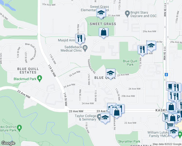 map of restaurants, bars, coffee shops, grocery stores, and more near 2545 116 Street Northwest in Edmonton
