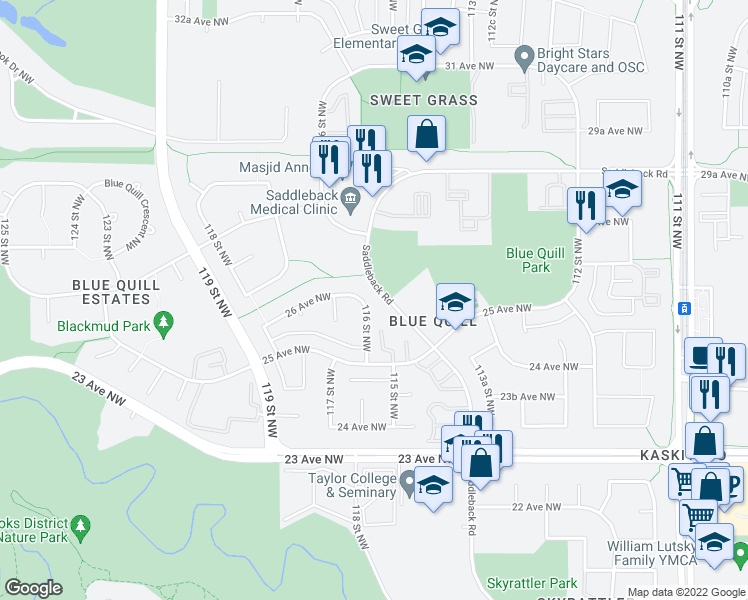 map of restaurants, bars, coffee shops, grocery stores, and more near 469-529 Saddleback Road Northwest in Edmonton