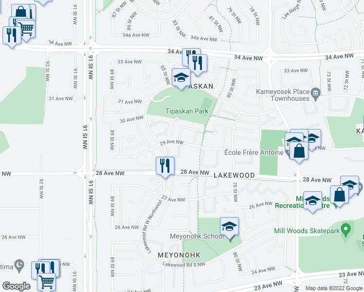 map of restaurants, bars, coffee shops, grocery stores, and more near 8423 29 Avenue in Edmonton