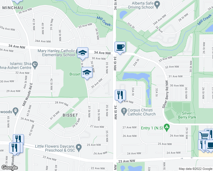 map of restaurants, bars, coffee shops, grocery stores, and more near 2911 36 Street Northwest in Edmonton