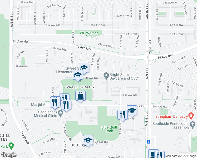 map of restaurants, bars, coffee shops, grocery stores, and more near 11235 31 Ave NW in Edmonton