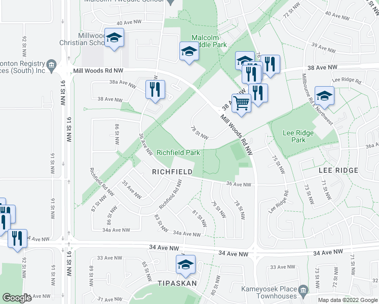 map of restaurants, bars, coffee shops, grocery stores, and more near 8210 36 Avenue Northwest in Edmonton