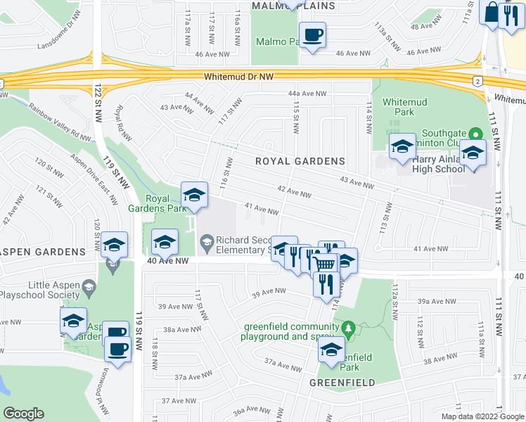 map of restaurants, bars, coffee shops, grocery stores, and more near 11507 41 Avenue Northwest in Edmonton