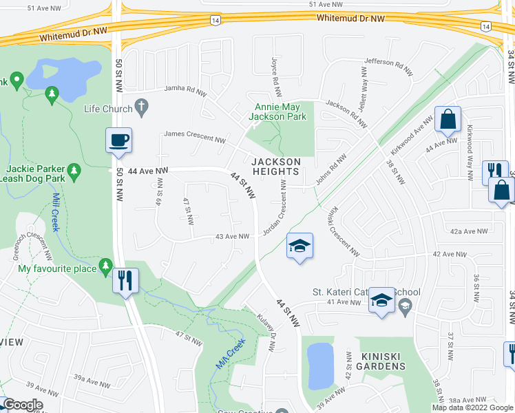 map of restaurants, bars, coffee shops, grocery stores, and more near 938 Jordan Crescent NW in Edmonton