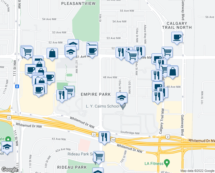 map of restaurants, bars, coffee shops, grocery stores, and more near 4714 106 Street Northwest in Edmonton