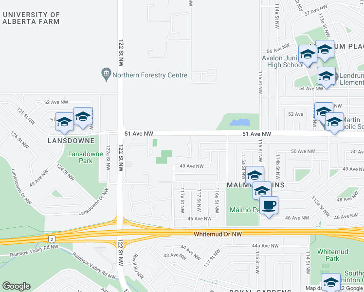 map of restaurants, bars, coffee shops, grocery stores, and more near 11703 51 Avenue Northwest in Edmonton