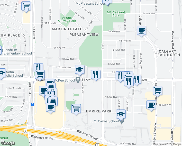 map of restaurants, bars, coffee shops, grocery stores, and more near 10634 51 Avenue Northwest in Edmonton