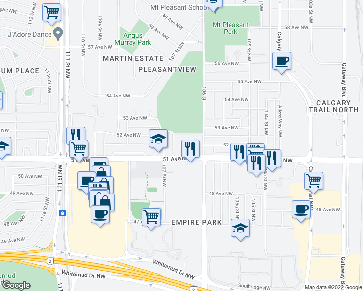 map of restaurants, bars, coffee shops, grocery stores, and more near 5107 106A Street Northwest in Edmonton