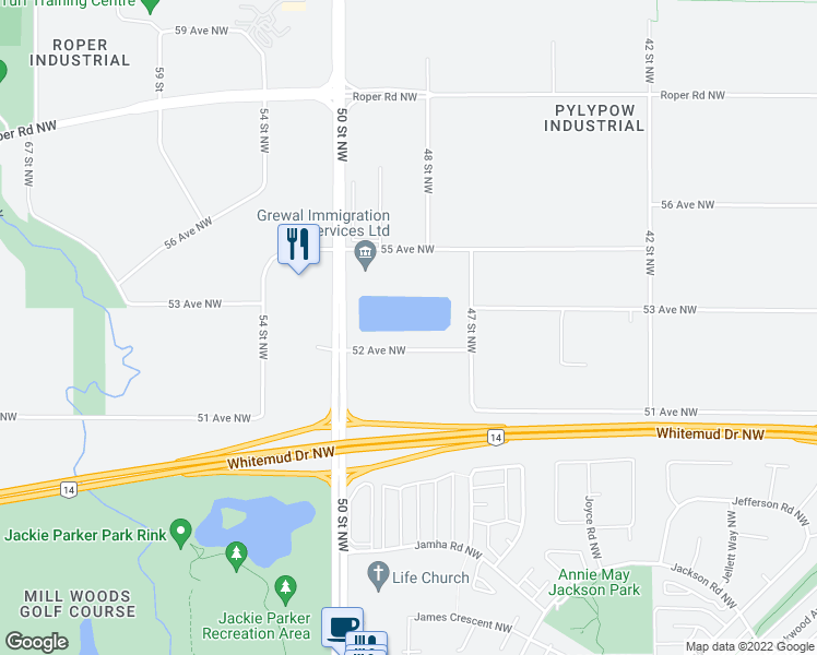 map of restaurants, bars, coffee shops, grocery stores, and more near 3620 52 Avenue Northwest in Edmonton