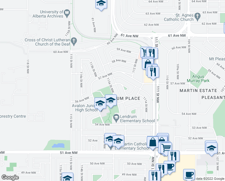 map of restaurants, bars, coffee shops, grocery stores, and more near 5519 113A Street Northwest in Edmonton