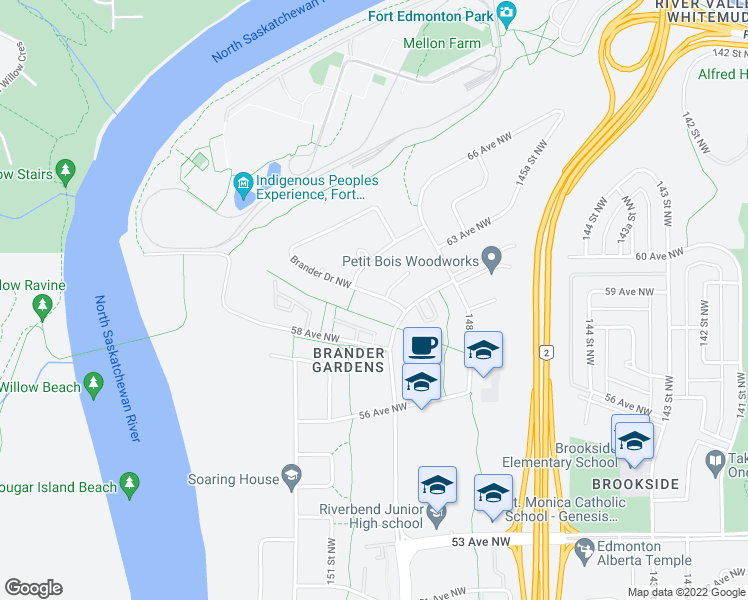 map of restaurants, bars, coffee shops, grocery stores, and more near 102 Brander Drive Northwest in Edmonton