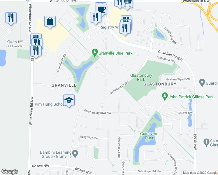 map of restaurants, bars, coffee shops, grocery stores, and more near 3919 Ginsburg Crescent Northwest in Edmonton