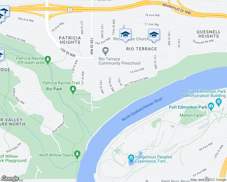 map of restaurants, bars, coffee shops, grocery stores, and more near 15412 Rio Terrace Drive Northwest in Edmonton