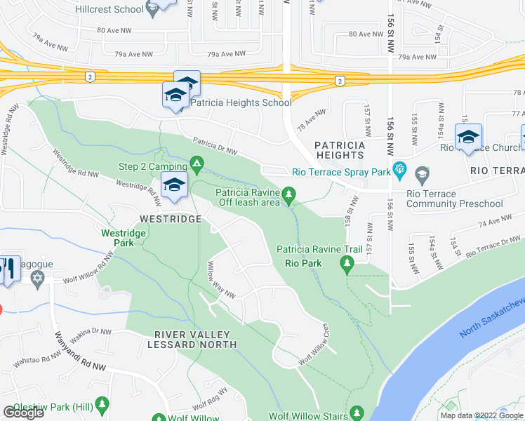 map of restaurants, bars, coffee shops, grocery stores, and more near 55 Wolf Crescent Northwest in Edmonton