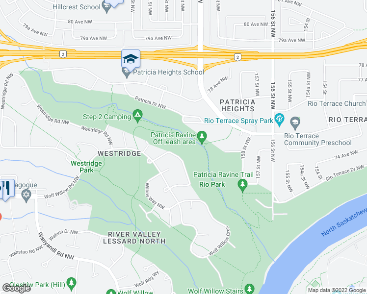 map of restaurants, bars, coffee shops, grocery stores, and more near 121 77A Avenue Northwest in Edmonton