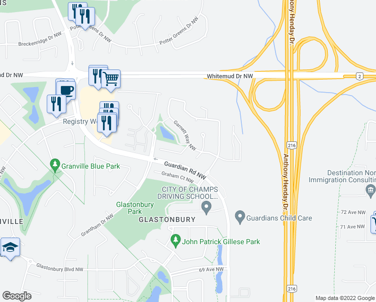 map of restaurants, bars, coffee shops, grocery stores, and more near 2205 Garnett Court Northwest in Edmonton