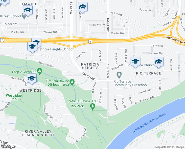 map of restaurants, bars, coffee shops, grocery stores, and more near 107 Hillcrest Place in Edmonton