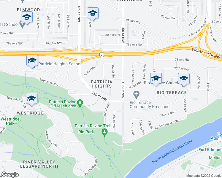 map of restaurants, bars, coffee shops, grocery stores, and more near 140 Hillcrest Place in Edmonton