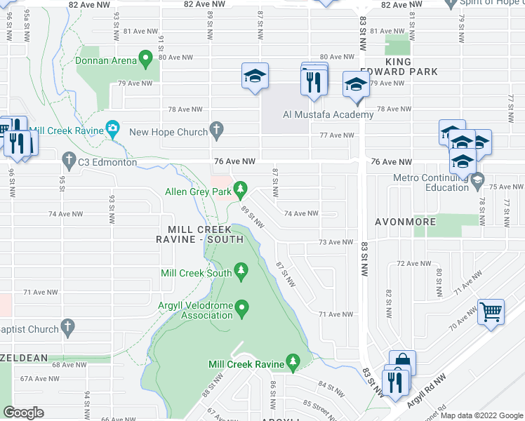 map of restaurants, bars, coffee shops, grocery stores, and more near 7428 87 Street Northwest in Edmonton