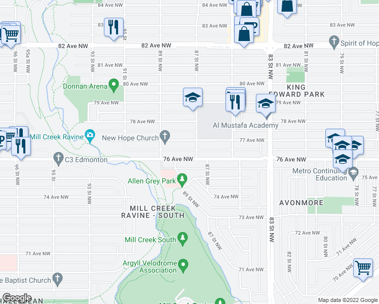 map of restaurants, bars, coffee shops, grocery stores, and more near 8716 76 Avenue Northwest in Edmonton
