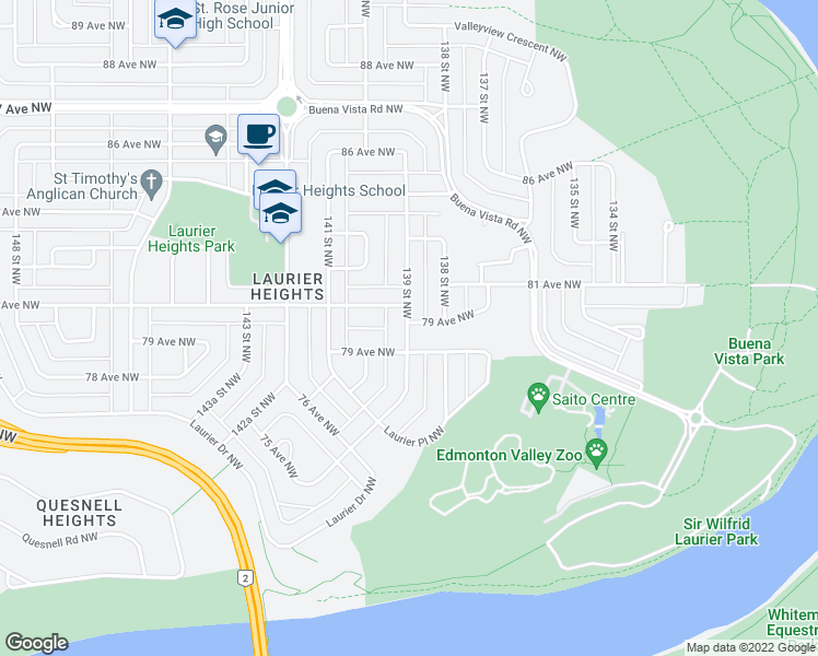 map of restaurants, bars, coffee shops, grocery stores, and more near 23107 79 Avenue Northwest in Edmonton