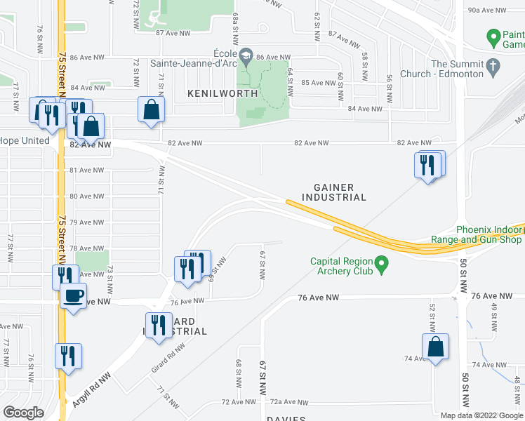 map of restaurants, bars, coffee shops, grocery stores, and more near 6620 78 Avenue Northwest in Edmonton