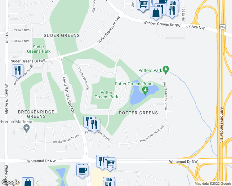 map of restaurants, bars, coffee shops, grocery stores, and more near 929 Picard Drive Northwest in Edmonton