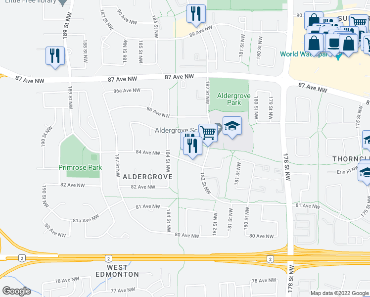 map of restaurants, bars, coffee shops, grocery stores, and more near 18240 84 Avenue Northwest in Edmonton