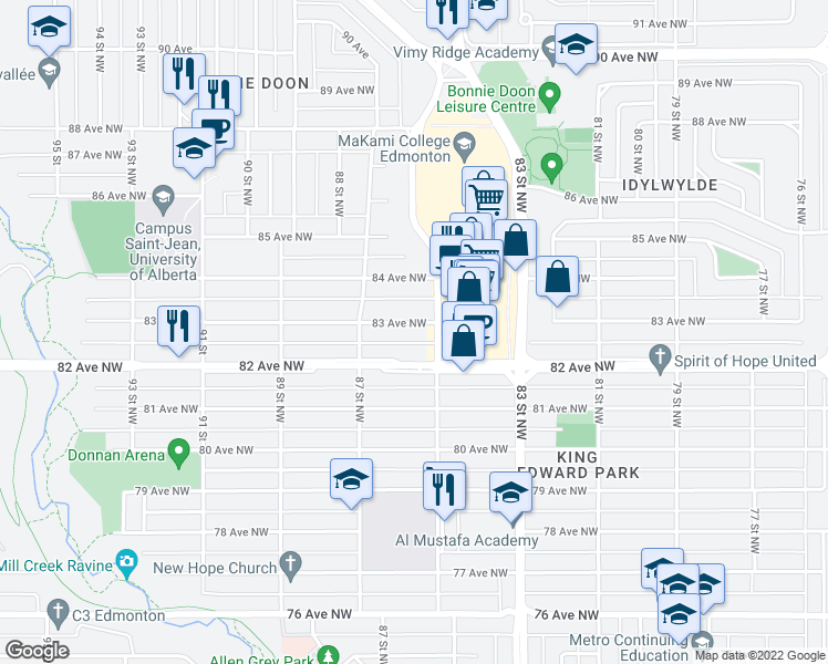 map of restaurants, bars, coffee shops, grocery stores, and more near 8515 83 Avenue Northwest in Edmonton